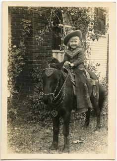 1930s Little Cowgirl with Chaps on Pony