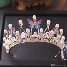 Princess Gold Color Wedding Crowns And Tiaras 2018 Pearls Crystal Beads Butterflies Women Hair Headpieces Bridal Jewelry Party Bride Jewelry Cheap Hair Accessories From Fairy_lady, [. Cheap Jewelry, Cute Jewelry, Hair Jewelry, Gold Jewelry, Jewelry Sets, Jewelry Making, Unique Jewelry, Crystal Crown, Crystal Beads