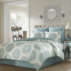 Elevate the look of your bedroom with the Bristol Duvet Set by Stone Cottage , featured in a trendy blue and white medallion print. This modern duvet. King Duvet Cover Sets, Queen Comforter Sets, Duvet Sets, Duvet Covers, Queen Duvet, Bristol, My New Room, Luxury Bedding, Comforters