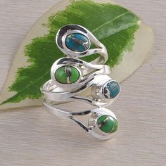 925 STERLING SILVER BLUE & GREEN COPPER TURQUPISE RING 9.11g DJR2324 S-9 #Handmade #Ring