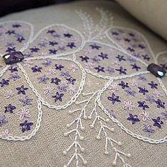 Embroidery from: 프랑스자수 #일산프랑스자수 #자수 #반짝반짝 보랏빛 비즈달고~ ~