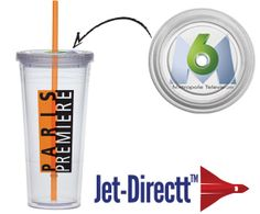 Item 24085 - Orange • 24 oz. • From the Extra large carnival cup collection • Double walled, BPA Free. • Clear twist on lid and color straw. • Shown with Jet-Directt™ lid imprint.