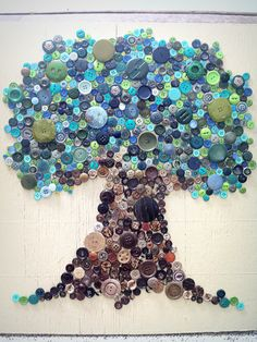 My Button Tree- not my idea to create it, got the idea from http://lilfishstudios.blogspot.com/2010/05/button-monday.html   .. Lots of time spent shopping at antique shops for buttons, sifting through buttons at thrift stores, and going through grandmas and moms buttons. I loved every moment of creating this!