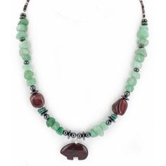 Delicate $250 Retail Tag Authentic Bear Made by Charlene Little Navajo .925 Sterling Silver Natural Kingman Turquoise Jade Red Jasper Hematite Necklace