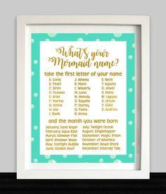 Mermaid Birthday Party // Mermaid Name // Mermaid Birthday // Mermaid Art Print // Mermaid Party Sign // Mermaid Game // Mermaid Printable by NothingPanda on Etsy https://www.etsy.com/ca/listing/506534914/mermaid-birthday-party-mermaid-name