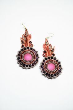 Soutache earrings amethyst earrings Swarovski por ByMimmiShop