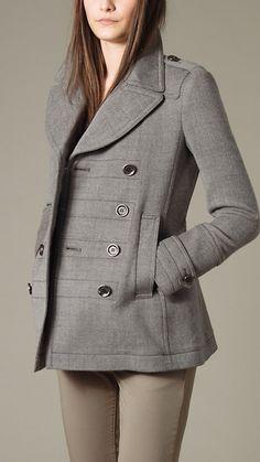 burberry brit pleated pea coat