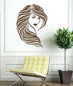 Wall Decal Vinyl Sticker Beautiful Girl Face Long Hair Style Salon