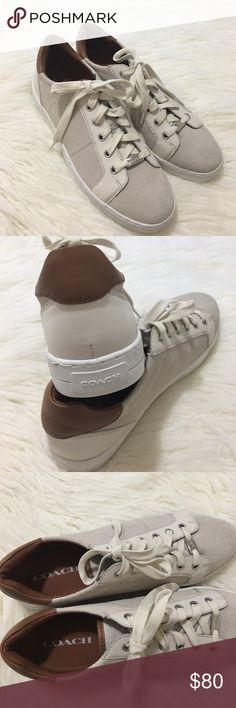 COACH paddy suede leather lace up beige sneakers COACH paddy suede leather lace up beige sneakers . New no box. Size 10 . Color: cream/brown suede. Coach Shoes Sneakers