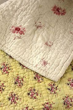 Antique French Provencal Quilt Provence 18th 19th Century Yellow Ground   eBay