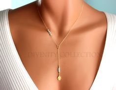 Hamsa Necklace Gold Filled Lariat Y Style by divinitycollection
