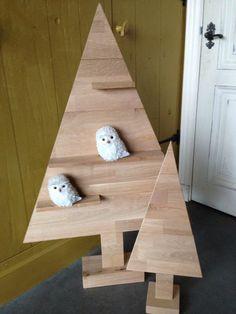 Decoratieve houten kerstbomen  Voor in het raam of op kast