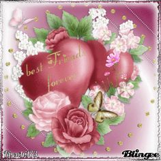 """PINK SILKY HEARTS. ON THE ONE HEART IT READS """" best Friends forever """"."""