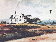 Captain Coffin's House, Tenants Harbor, Maine Andrew Wyeth, Saint George, Art Auction, Maine, Artist, Artwork, House, Painting, Work Of Art