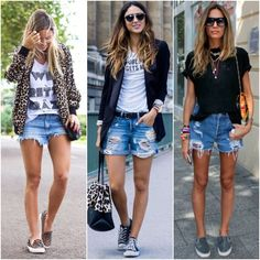 Pin by Alex Wright on Things I want to wear in 2019 Boyfriend Shorts Outfit, Denim Shorts Outfit, Estilo Converse, Estilo Jeans, Chic Outfits, Spring Outfits, Fashion Outfits, Outfit Summer, Summer Shorts