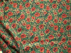 Vintage Liberty Cotton Twill Dress Fabric Orange Roses on Green & Black | eBay
