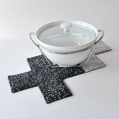 Black by EdgeEffects Black Linen, Black Fabric, Black White, Fabric Coasters, White Crosses, Black Quilt, Natural Linen, Serving Dishes, Before Christmas