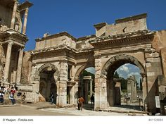 The Gate of Augustus in Ephesus, Turkey - This is the monumental gate that stands proudly at the right of the ancient Library of Celsus. It was dedicated to the Emperor Augustus by the slaves Mazeus and Mythridates that were freed by the Emperor.