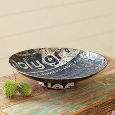 REPURPOSED STEEL BOWL -- Formerly a steel storage drum, our dark blue recycled bowls still carry the imprint of their original contents, contributing not just industrial edginess but a sensible green note. For decorative use only Steel Drum, Steel Metal, Funky Furniture, Home Decor Furniture, Grunge Decor, Oil Drum, Eclectic Decor, Wabi Sabi, Hostess Gifts