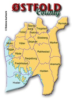 Map of Østfold county, Norway. My Grandpa Hans Christian (Torvaldson) Lystad was from Skiptvet, Østfold, Norway. Fredrikstad, Norwegian Rosemaling, Hans Christian, History Photos, Olsen, 10 Days, Family History, Social Studies, Genealogy