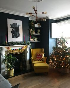 Colourful Christmas living room Hague Blue Farrow and Ball walls Dark Living Rooms, Farrow And Ball Living Room, Christmas Living Rooms, Dark Blue Living Room, Blue Living Room Decor, Dark Walls Living Room, Cosy Living Room, Blue Walls Living Room, Victorian Living Room