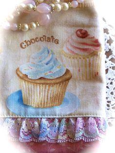 Home made cupcake decorative tea towel.