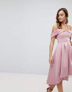 2aa344d5cee5 ASOS Bardot Cold Shoulder Dip Back Midi Prom Dress Prom Girl Dresses