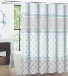 Max Studio Home Fabric Shower Curtain (Seafoam Green / Gray / Tan Stamped  Patch)