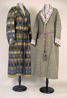Two Gentleman' s Wool Dressing Gowns English and American, late 19th century The first of brown felted wool with plaid lining, cuffs and shawl collar, purple and white cord trim, and tasseled cord belt, labeled: Peter Robinson Ltd/London W.I., the second of an ombre blanket plaid in shades of blue and olive, cord belt, labeled: Imported Fabric/Daniels and Fisher Stores Co./Denver.