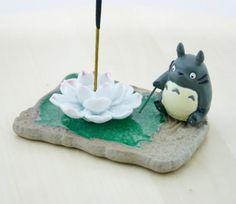 Incense burner/ Totoro/ Aromatherapy/ Incense/ miniature/ figurine/ home decor/ Lotus/ Incense holder/ Porcelain/ Miyazaki/ Studio ghibli