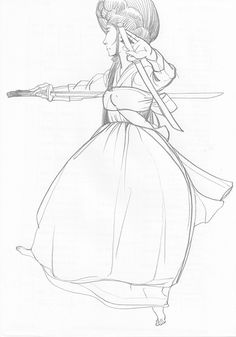 sward dance figure drawing pencil on paper