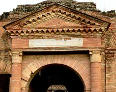 facade detail of Horrea Epagathiana, Ostia, Italy, 150 AD. A Horreum was a type of public warehouse used during the ancient Roman period.
