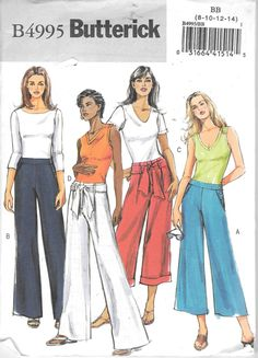 Butterick 4995 Misses Wide Legged Pants Capri's Sash Sewing Pattern Uncut Size…