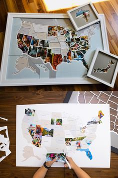 Fill each state with your own photo to track where you've been and where you are going. A free website makes it easy to create photos which will fit perfectly in the map. Cute Gifts, Diy Gifts, Photo Maps, Travel Memories, Fun Projects, Free Website, Road Trip, Crafty, Track