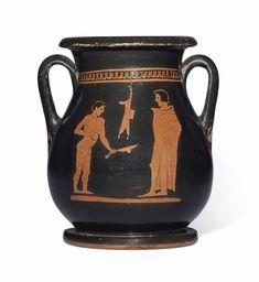 CIRCA MID 5TH CENTURY B.C. Greek Pottery, Auction, Scene, Vase, Antiques, Attic, Red, Antiquities, Loft Room