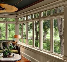 Browse pictures of sunroom styles and also decoration. Discover ideas for your 4 seasons room addition, including motivation for sunroom decorating and also formats. Four Seasons Room, Three Season Room, Sunroom Windows, Porch With Windows, Cottage Windows, Windows And Doors, Wall Of Windows, Crank Windows, Exterior Windows