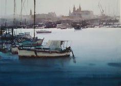 Manolo Jiménez Acuarela 100 x 70cm sobre Árches. Accésit en el VIII Concurso Faros y Puertos de Baleares