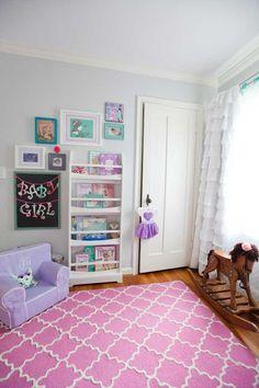 Adorable grey, purple, teal & pink nursery!