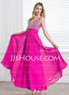 Prom Dresses - $144.49 - A-Line/Princess V-neck Floor-Length Chiffon Charmeuse Prom Dresses With Ruffle Beading (018013097) http://jjshouse.com/A-line-Princess-V-neck-Floor-length-Chiffon-Charmeuse-Prom-Dresses-With-Ruffle-Beading-018013097-g13097