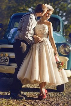 short tulle and lace wedding gown