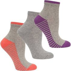 Fruit of the Loom Ladies' Cotton Stretch Cushioned Ankle Socks, 3 Pack, Women's, Size: 4-10, Orange