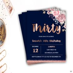 birthday invitation round birthday rose gold birthday floral birthday invitation thirty birthday invitation blue invite B-Day Party 30th Party, 30th Birthday Parties, Birthday Cards, Birthday Ideas, Birthday Roses, Gold Birthday, 30th Birthday Invitations, Wedding Invitations, Invitation Fete
