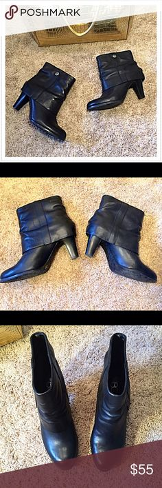 """BCBG Paris black leather slip-on booties Must-have for Fall! Flawless- barely worn once. Leather upper. Comfortable 2.75"""" heel. 6.5B, true to size. Approx 13"""" ankle circumference (measured at top). BCBG gold bag available in separate listing. Bundle to save! NO TRADES, no modeling. REASONABLE offers welcome via offer button. BCBG Shoes Ankle Boots & Booties"""