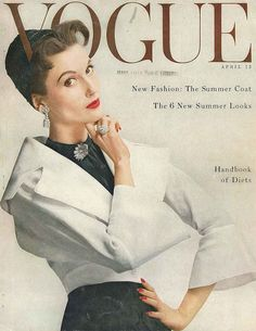 The April 1953 cover of Vogue magazine featuring a chic black and white outfit (with oodles of glittering accessories) for spring. #vintage #fashion #1950s