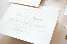 Dana + Ben's Whimsical Gold Engraved Wedding Invitations