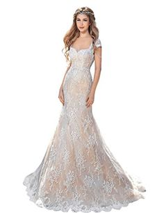 Aurora Bridal® 2016 Beach Wedding Gown Lace Mermaid Bride...