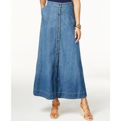 American Living Button Front Denim Maxi Skirt ($53) ❤ liked on Polyvore featuring skirts, port wash, denim skirt, blue a line skirt, blue skirt, a line denim skirt and maxi skirt