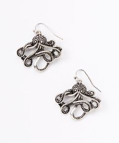Another great find on #zulily! Silvertone Octopus Earrings #zulilyfinds_ I would Love to make something similar in wire, seed beads, pearl and maybe shell?
