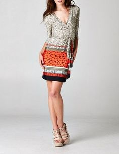 CHELSEA VERDE S SHIFTING SEASONS  Diane Boho Tribal Print Wrap Day Dress S--M-L