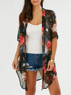 Open Front Allover Print Chiffon Kimono - Red - 3922191614 Size M Kaftan Designs, Chiffon Kimono, Print Chiffon, Brixton Clothing, Women's Clothing, Dressy Lace Tops, Plus Size Kimono, Black Kimono, Looks Plus Size